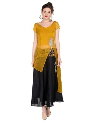 Ira Soleil Yellow Kurta with Embroidered Patch on waist