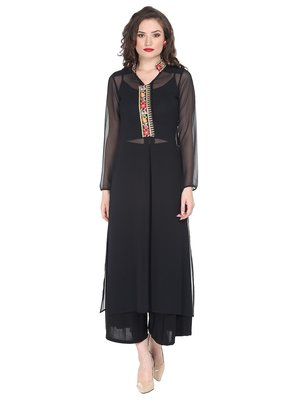 Black sheer kurta with embroidered placket and collar.
