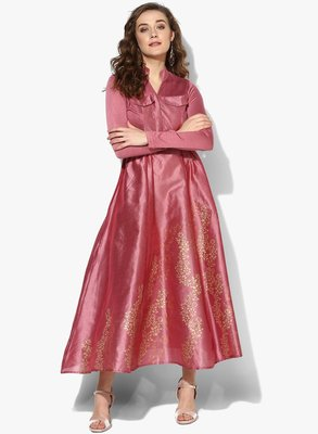 Pink block printed long anarkali in dupion fabric