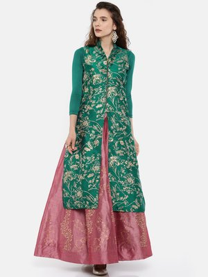 Green all over printed long kurti in dupion fabric with viscose lycra sleeves.