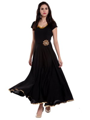 Long, flared Anarkali with embellished flower patch on waistline.