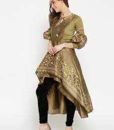 Gold High Low Kurta with Gold Floral Print and voluminous sleeves.