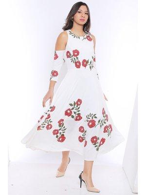 Long Anarkali Kurta with Red floral print and cold shoulder