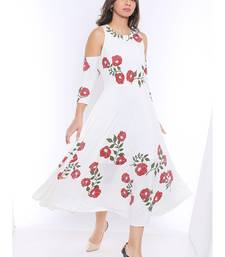 Long Anarkali Kurta with Red floral print and cold shoulder