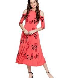 Ira Soelil Coral cold shoulder Anarkali with floral print