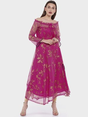 Ira Soleil Magenta all over printed Long 3/4th Sleeves Kurta