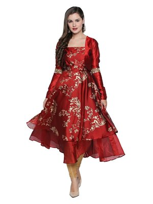 2pcs maroon long anarkali with jacket