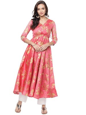 Coral Long Anarkali Kurta with embelished back neck