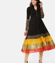 Black full sleeve Kurta with front opening and printed broad hem.