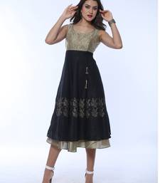 Gold and black Long Anarkali with embroidered yoke and block print