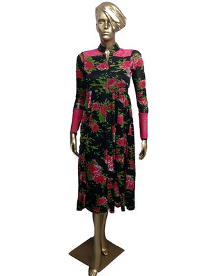 Ira Soleil New Black kurti with floral print made in stretched lycra fabric