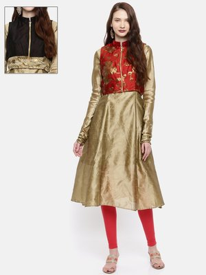 Ira Soleil 2 pcs set of Gold Kurta with reversible short jacket madein dupion fabric