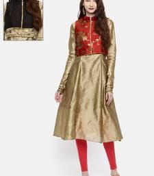 Ira Soleil 2 pcs set of Gold Kurta with reversible short jacket madein dupion fabric