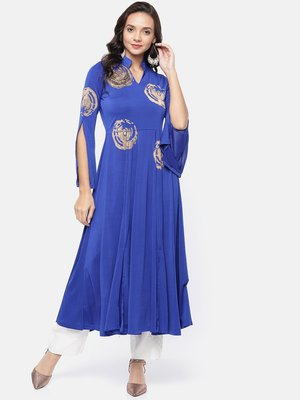 Ira Soleil Blue Long Anarkali Kurta with embroidered patch