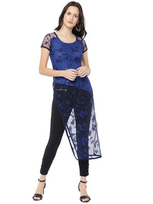 Ira Soleil Blue A-line Kurta with embroidered favric