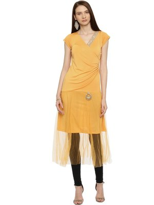 Ira Soleil Yellow kurta with embellished lace