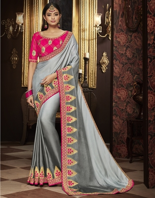 Grey embroidered silk blend saree with blouse