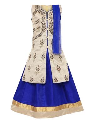 Blue embroidered silk stitched lehenga