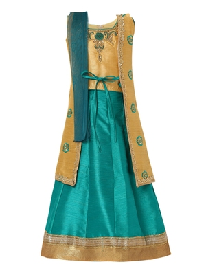 Turquoise Embroidered Silk Stitched Lehenga
