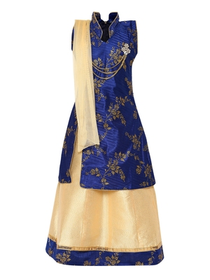 Cream Printed Silk Stitched Lehenga