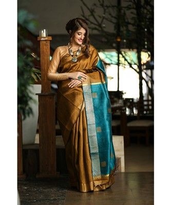 Golden Shade Handwoven Dupion Raw Silk Saree