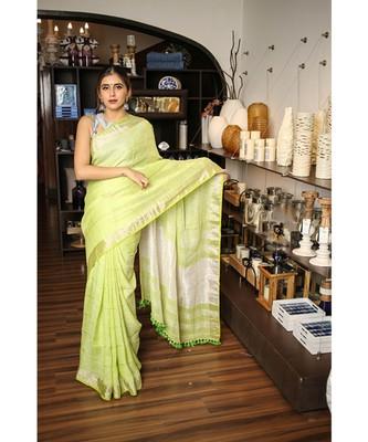 Light Spring Green Handwoven Linen Saree with Silver Border