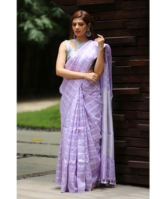 Lavender Shade Handwoven Linen Saree