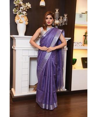 Lavender Shade Handwoven Linen Saree with Zari Border