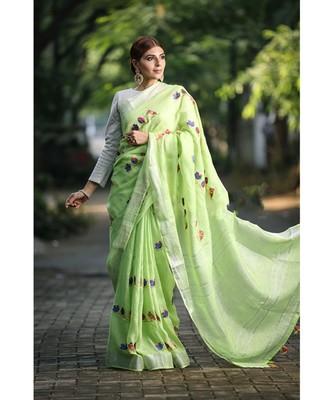 Green Shade Embroidered Handwoven Linen Saree with Zari Border