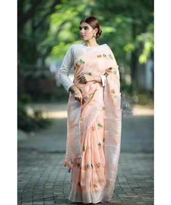 Peach Shade Embroidered Handwoven Linen Saree with Zari Border