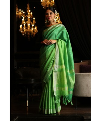 Double Shaded Banarasi Linen Handwoven Saree