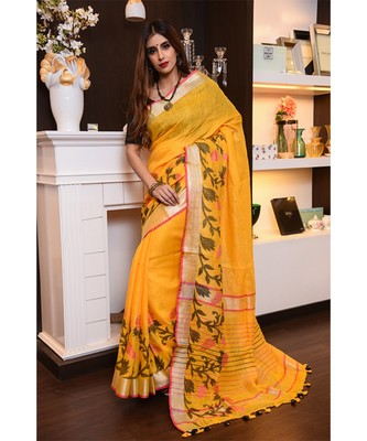 Yellow Shade Handwoven Linen Saree with Jacquard Weaving