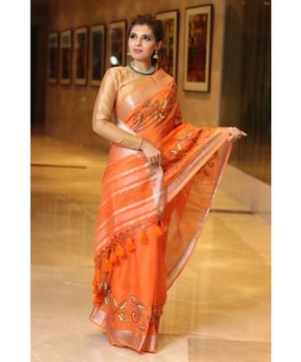 Orange Shade Handwoven Linen Hand Embroidered Saree