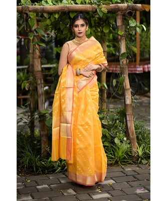 Yellow Cutwork Brocade Handwoven Cotton Silk Saree