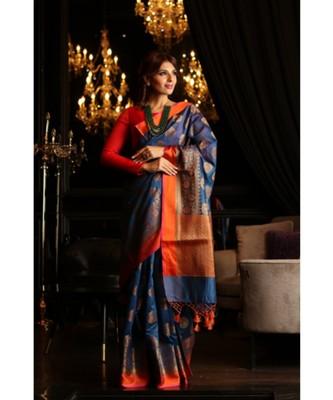 Blue Shade Maheshwari Cotton Banarasi Handwoven Saree