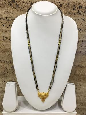 """Alloy 2 Two Linewith Black Gold Beads 18"""" Length and Golden Plated Design Pendant Traditional"""