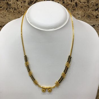 """Mangalsutra With Black Beads 8"""" Length And Golden Plated Design Pendant And Latkan Traditional"""