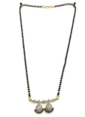 """Mangalsutra With Black Beads 8"""" Length And Gold & Silver Plated American Diamond Pendant Traditional"""