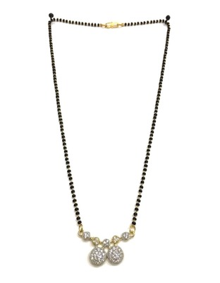 "Mangalsutra with Black Beads 8"" Length and Gold & Silver Plated American Diamond Pendant Traditional"