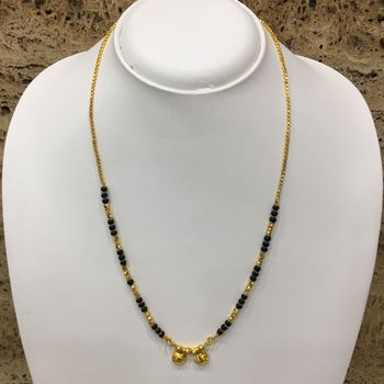 """Mangalsutra with Black & Gold Beads 8"""" Length and Golden Plated Design Pendant and Latkan Traditional"""