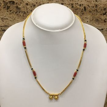 Gold Plated Mangalsutra Necklace 18-Inch Length Chain Golden Vati Tanmaniya Pendant Traditional Black Orange Coral Beads