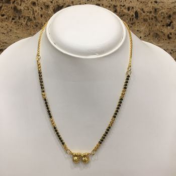 Gold Plated Mangalsutra Necklace 18-inch Length Chain Golden Vati Tanmaniya Pendant Traditional Black& Gold Beads