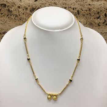 Gold Plated Mangalsutra Necklace 18-inch Length Chain Golden Vati Tanmaniya Pendant Traditional Black Gold Beads