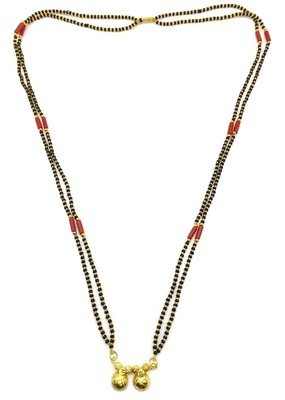 """Black & Orange Coral/Munga (Mangal) Beads 15"""" Length And Golden Plated Design Pendant And Latkan Traditional"""