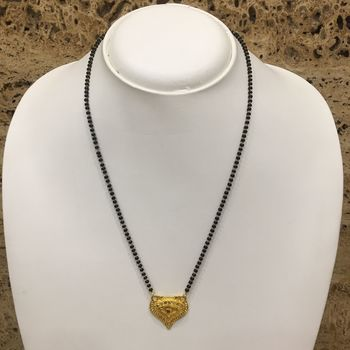 Gold Plated Mangalsutra Necklace 18-Inch Length Chain Golden Plated Pendant And Latkan Traditional Black Beads S