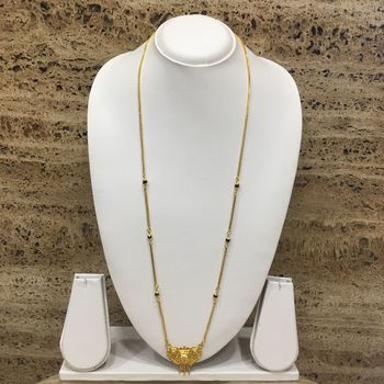 Gold Plated Mangalsutra Necklace 30-Inch Length Chain Golden Plated Pendant And Latkan Traditional Black & Gold Beads