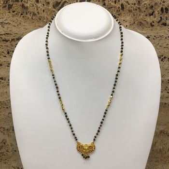 Gold Plated Mangalsutra Necklace 20-Inch Length Chain Golden Plated Pendant And Latkan Traditional Black & Gold Beads