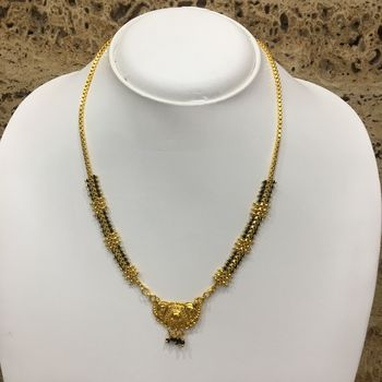 Gold Plated Mangalsutra Necklace 18-Inch Length Chain Golden Plated Pendant And Latkan Traditional Black & Gold Beads