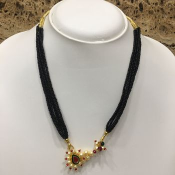 14-Inch Length Chain Golden Nath Pendant Enamal Work Pearls Traditional Black Beads 6 Line Multilayer
