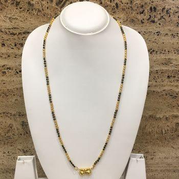 26-inch Length Chain Golden Double Vati Tanmaniya Pendant Traditional Black & Gold Beads